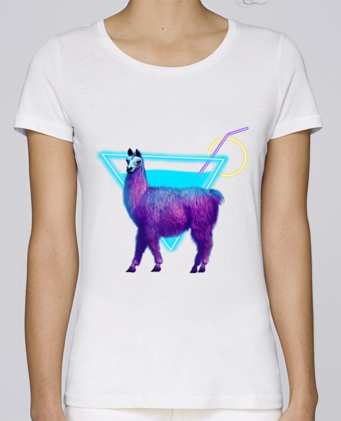 T-shirt Femme Stella Loves Alpaga synthwave par Morin BLANC