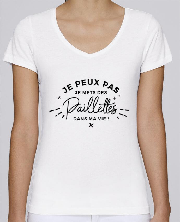 T-shirt Femme Col V Stella Chooses Paillettes par Nana