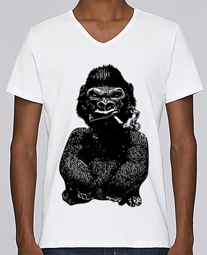 T-shirt Col V Homme Stanley Relaxes Gorille par David