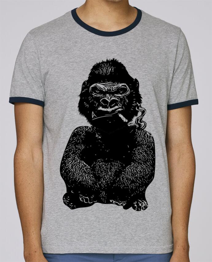 T-Shirt Ringer Contrasté Homme Stanley Holds Gorille pour femme par David
