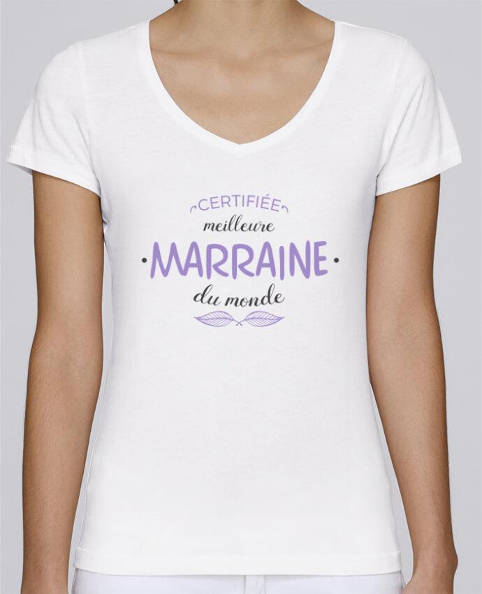 T-shirt Femme Col V Stella Chooses Certifiée meilleure marraine du monde par tunetoo