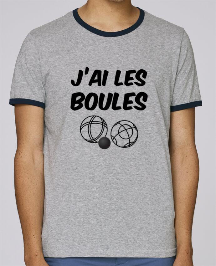 T-Shirt Ringer Contrasté Homme Stanley Holds J'ai les boules. Spécial pétanque, jeux de boule, papa, papy pour femme par sicool