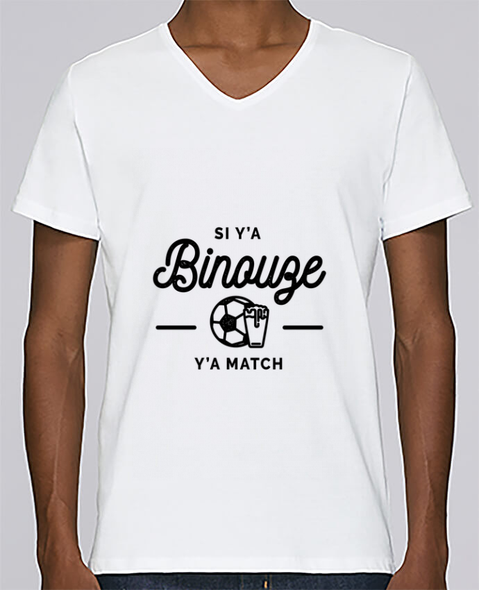 T-shirt Col V Homme Stanley Relaxes Si y'a bineuse y'a match par Rustic