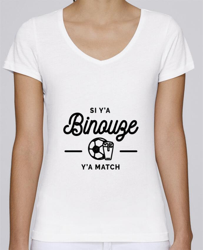 T-shirt Femme Col V Stella Chooses Si y'a bineuse y'a match par Rustic
