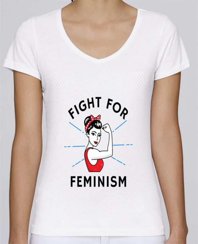 T-shirt Femme Col V Stella Chooses Fight for féminism par Vise Shine your life