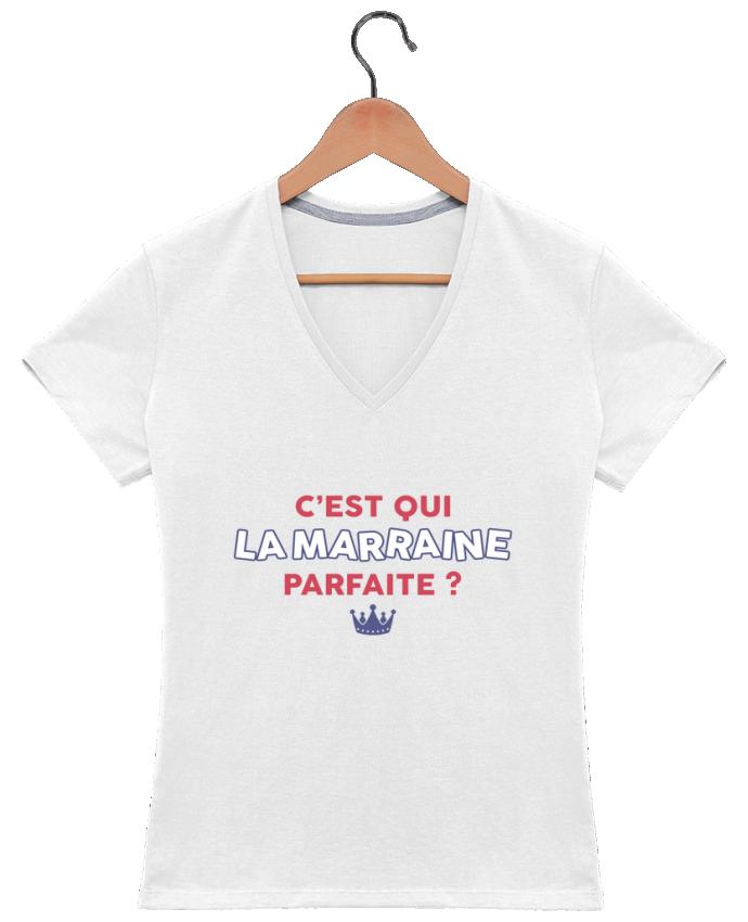 T-shirt Col V Femme 180 gr C'est qui la marraine parfaite . par tunetoo
