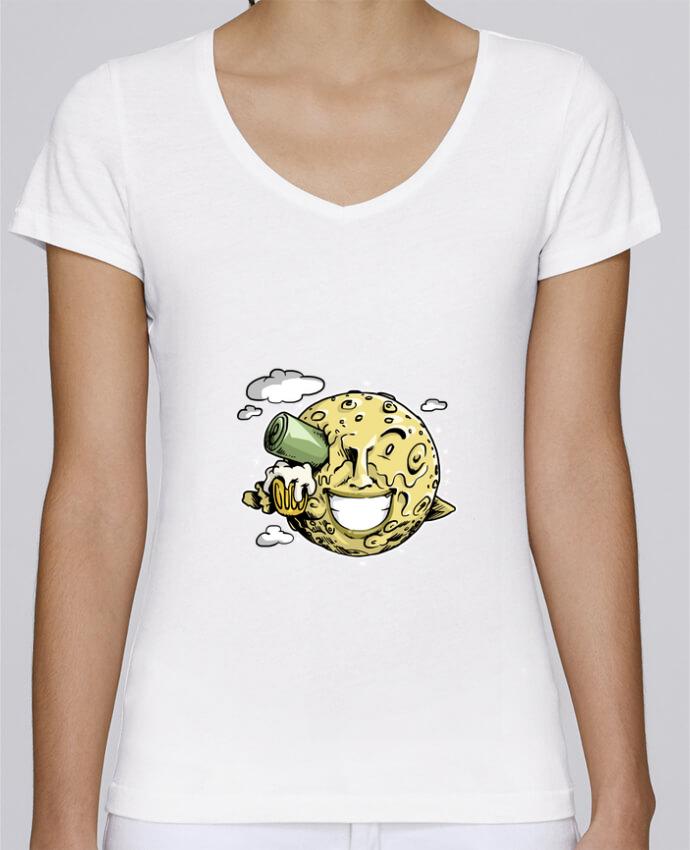 T-shirt Femme Col V Stella Chooses Lune & bière par Tomi Ax - tomiax.fr