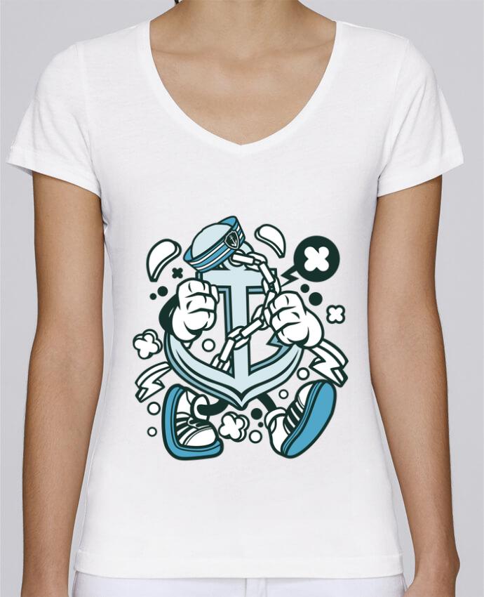 T-shirt Femme Col V Stella Chooses Ancre de bateau Cartoon | By Kap Atelier Cartoon par Kap Atelier