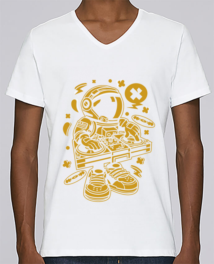 T-shirt Col V Homme Stanley Relaxes Dj Astronaute Golden Cartoon | By Kap Atelier Cartoon par Kap Atelier