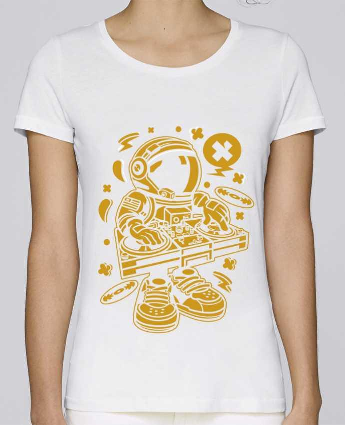 T-shirt Femme Stella Loves Dj Astronaute Golden Cartoon | By Kap Atelier Cartoon par Kap Atelier