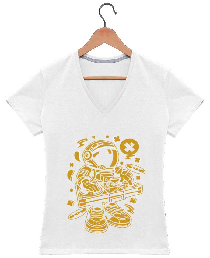 T-shirt Col V Femme 180 gr Dj Astronaute Golden Cartoon | By Kap Atelier Cartoon par Kap Atelier