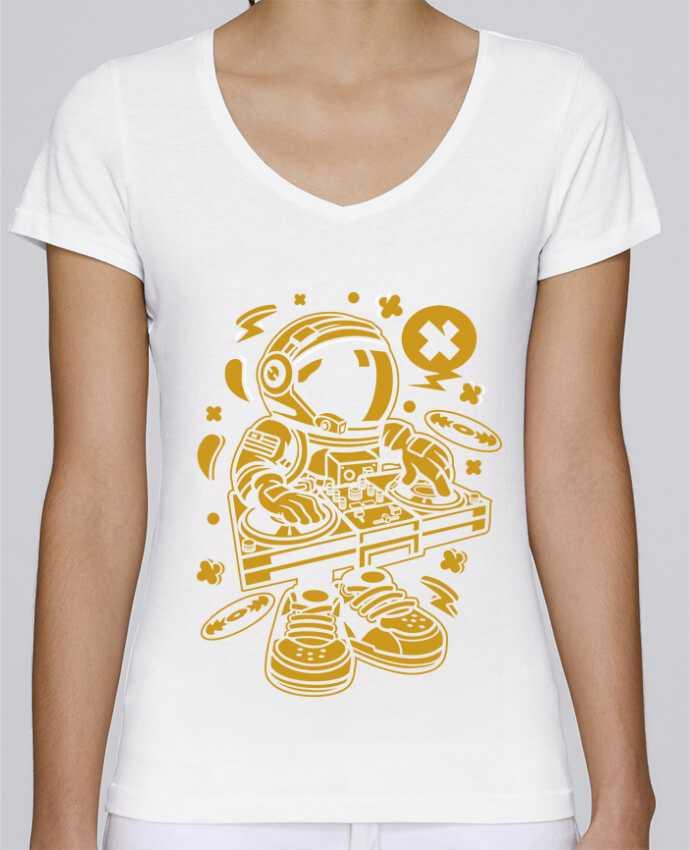 T-shirt Femme Col V Stella Chooses Dj Astronaute Golden Cartoon | By Kap Atelier Cartoon par Kap Ate