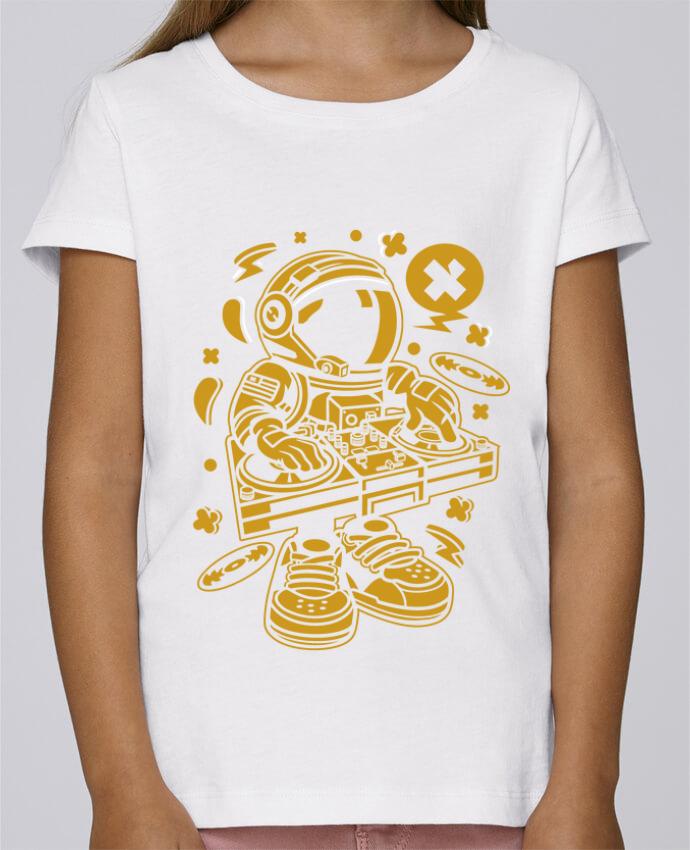 T-shirt Fille Mini Stella Draws Dj Astronaute Golden Cartoon | By Kap Atelier Cartoon par Kap Atelier