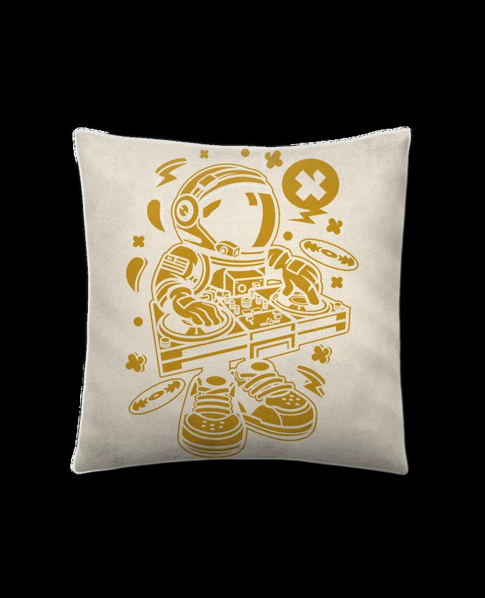 Coussin Toucher Peau de Pêche 41 x 41 cm Dj Astronaute Golden Cartoon | By Kap Atelier Cartoon par Kap Atelier