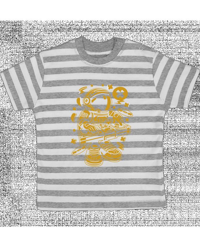 T-shirt Bébé à Rayures Dj Astronaute Golden Cartoon | By Kap Atelier Cartoon par Kap Atelier