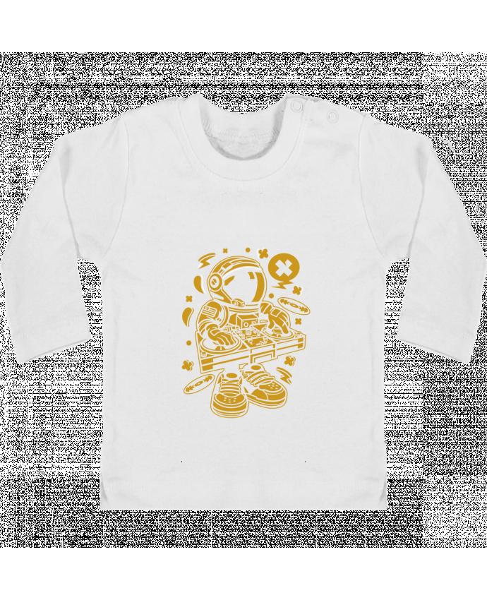 T-shirt Bébé Manches Longues Boutons Pression Dj Astronaute Golden Cartoon | By Kap Atelier Cartoon manches longues du designer Kap A