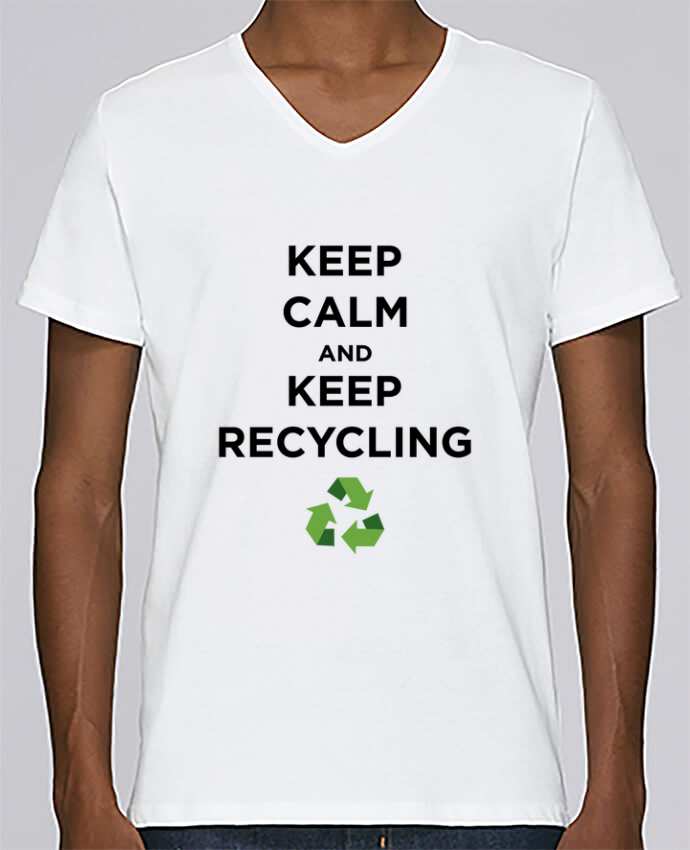 T-shirt Col V Homme Stanley Relaxes Keep calm and keep recycling par tunetoo