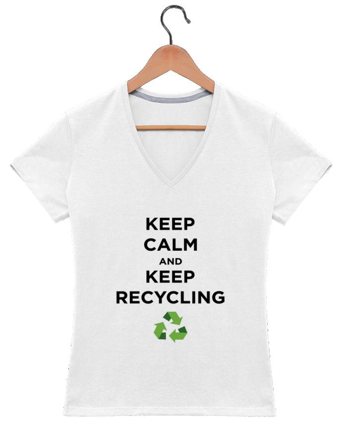 T-shirt Col V Femme 180 gr Keep calm and keep recycling par tunetoo