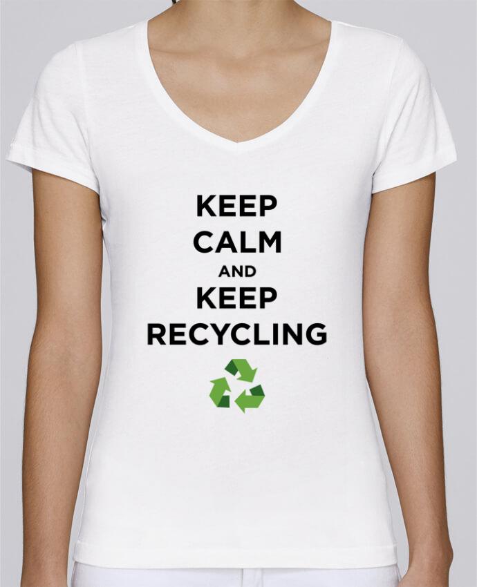T-shirt Femme Col V Stella Chooses Keep calm and keep recycling par tunetoo