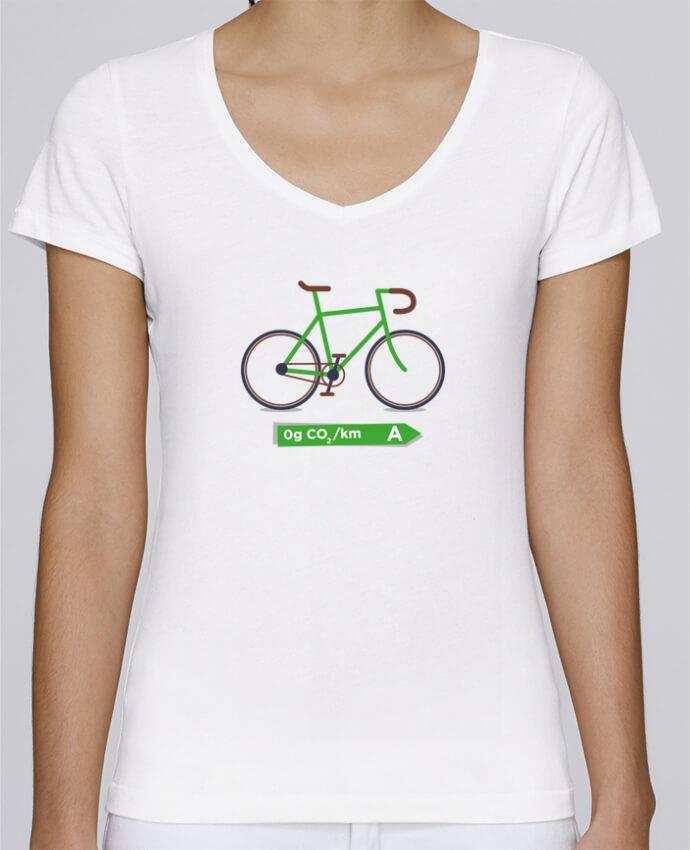 T-shirt Femme Col V Stella Chooses Vélo écolo par tunetoo