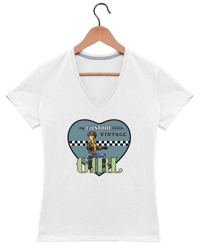T-shirt Col V Femme 180 gr My custom vintage girl par BRUZEFH