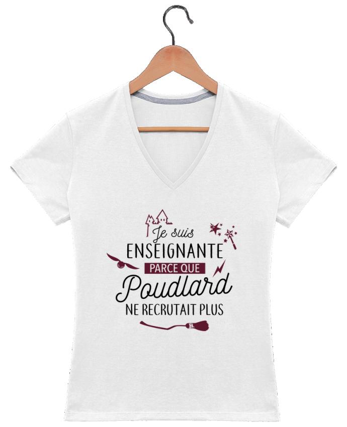 T-shirt Col V Femme 180 gr Poudlard / Enseignant par La boutique de Laura