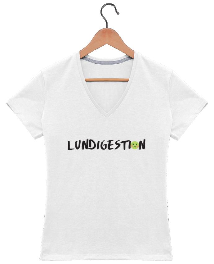 T-shirt Col V Femme 180 gr Lundigestion par tunetoo