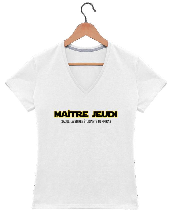 T-shirt Col V Femme 180 gr Maître jeudi par tunetoo