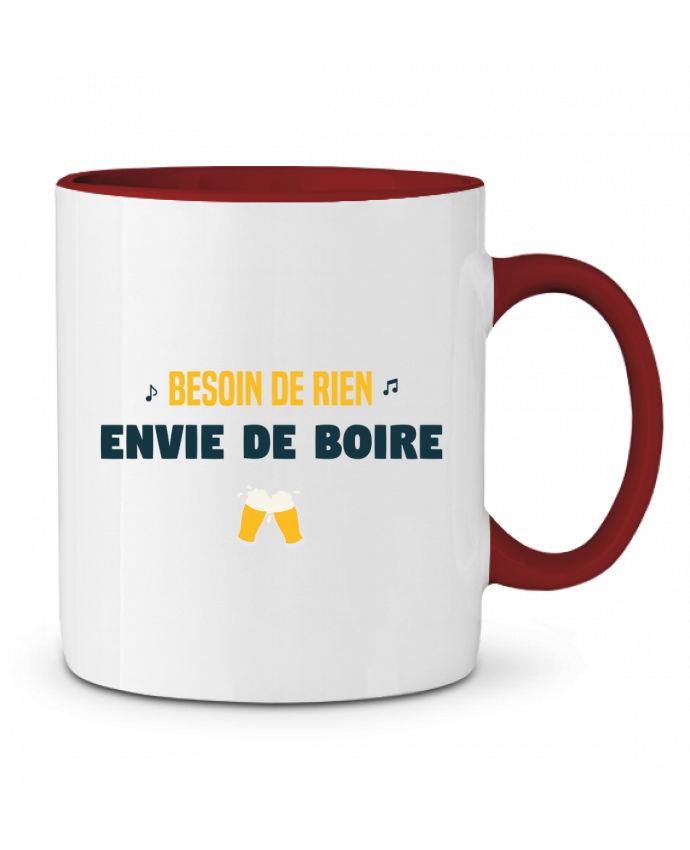 Mug en Céramique Bicolore Besoin de rien envie de boire tunetoo