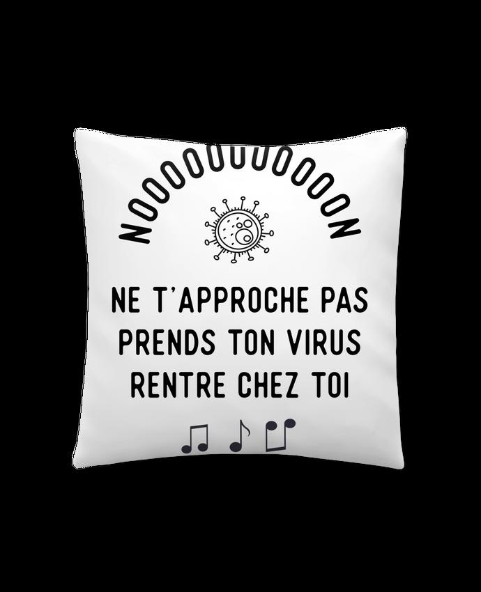 Coussin Synthétique Doux 41 x 41 cm Prends ton virus rentre chez toi humour corona virus par Original t-shirt