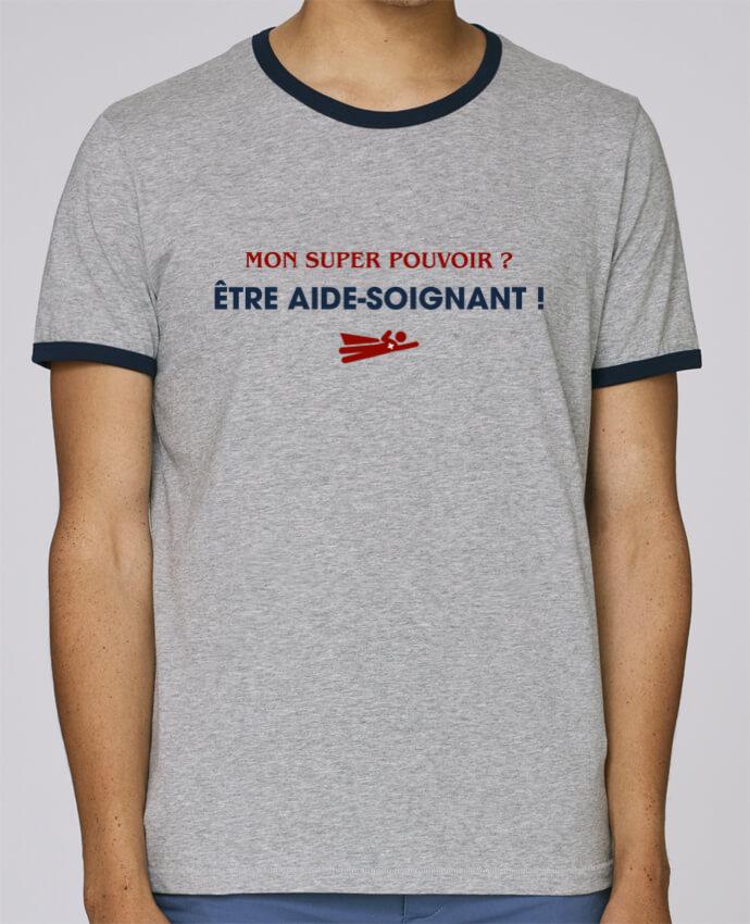 T-Shirt Ringer Contrasté Homme Stanley Holds Mon super-pouvoir ? être aide-soignant ! pour femme par tunetoo