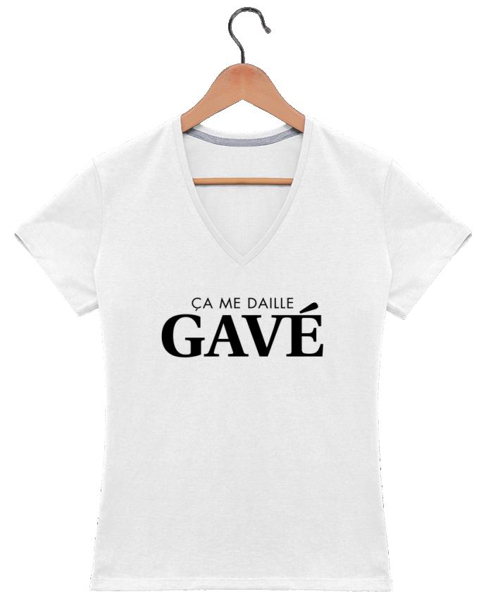 T-shirt Col V Femme 180 gr ça me daille gavé par tunetoo