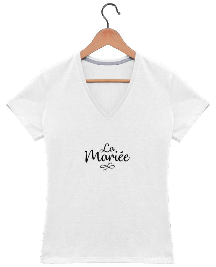 T-shirt Col V Femme 180 gr La mariée par Nana