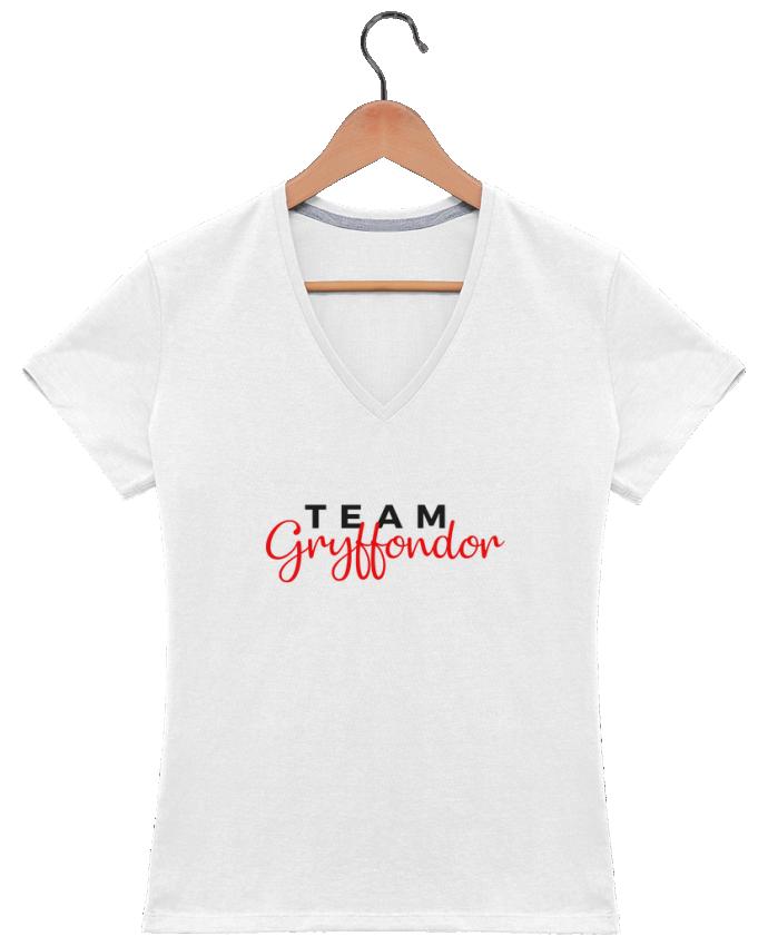 T-shirt Col V Femme 180 gr Team Gryffondor par Nana