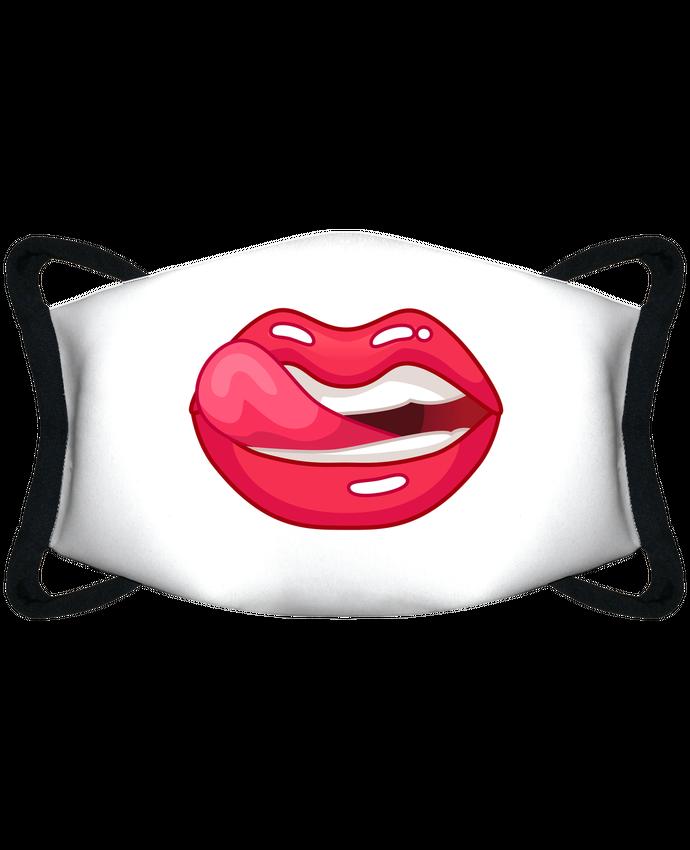 Masque de Protection Sublimable Tunetoo Bouche femme sensuelle se lèche ses lèvres rouge par Funnydesigner