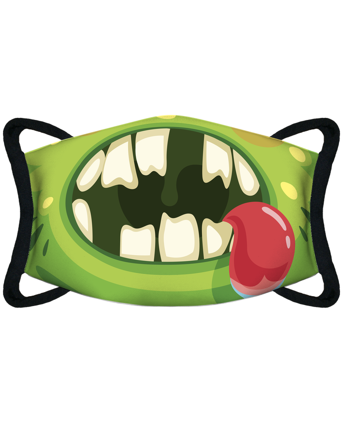 Masque de Protection Sublimable Tunetoo bouche monstre vert funny par Funnydesigner