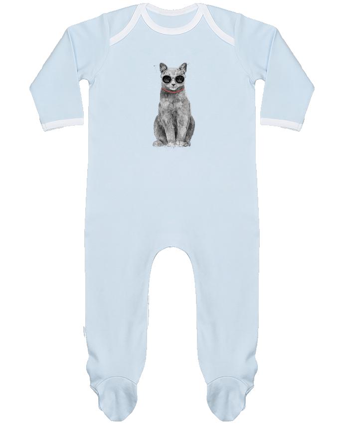 Pyjama Bébé Manches Longues Contrasté Summer Cat par Balàzs Solti