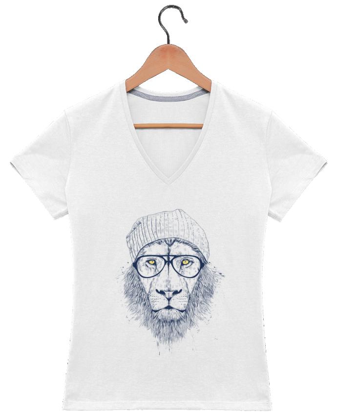 T-shirt Col V Femme 180 gr Cool Lion par Balàzs Solti