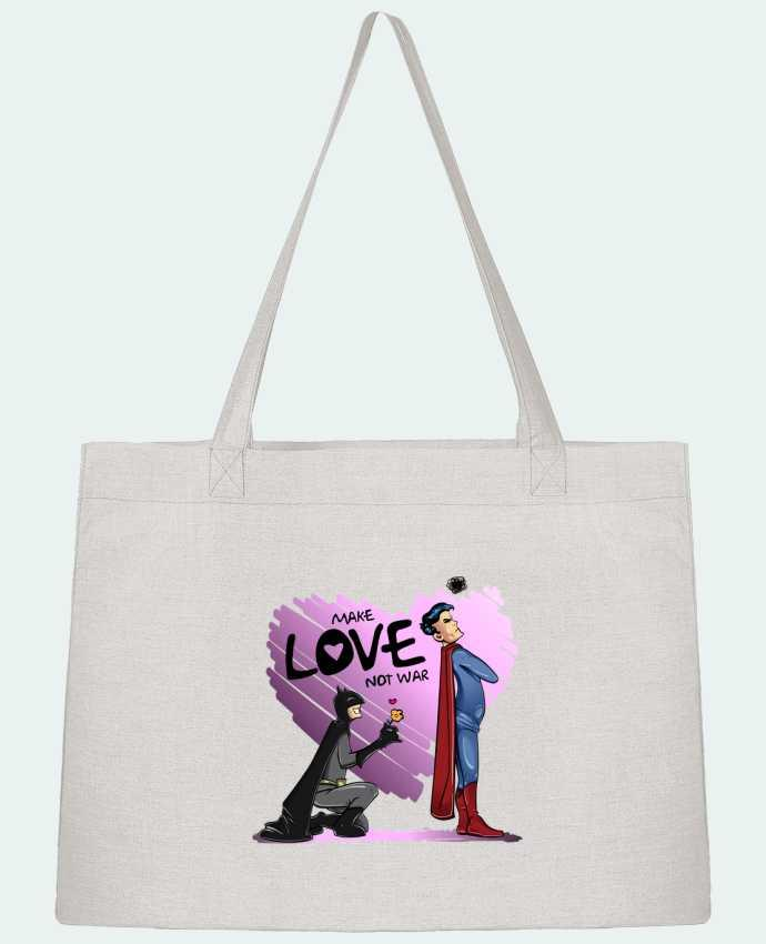 Sac Cabas Shopping Stanley Stella MAKE LOVE NOT WAR (BATMAN VS SUPERMAN) par teeshirt-design.com