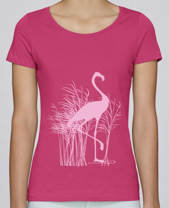 T-shirt Femme Stella Loves Flamant rose dans roseaux par Studiolupi