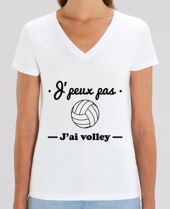 Tee SHirt Femme Col V Stella EVOKER J'peux pas j'ai volley , volleyball, volley-ball Par  Benichan