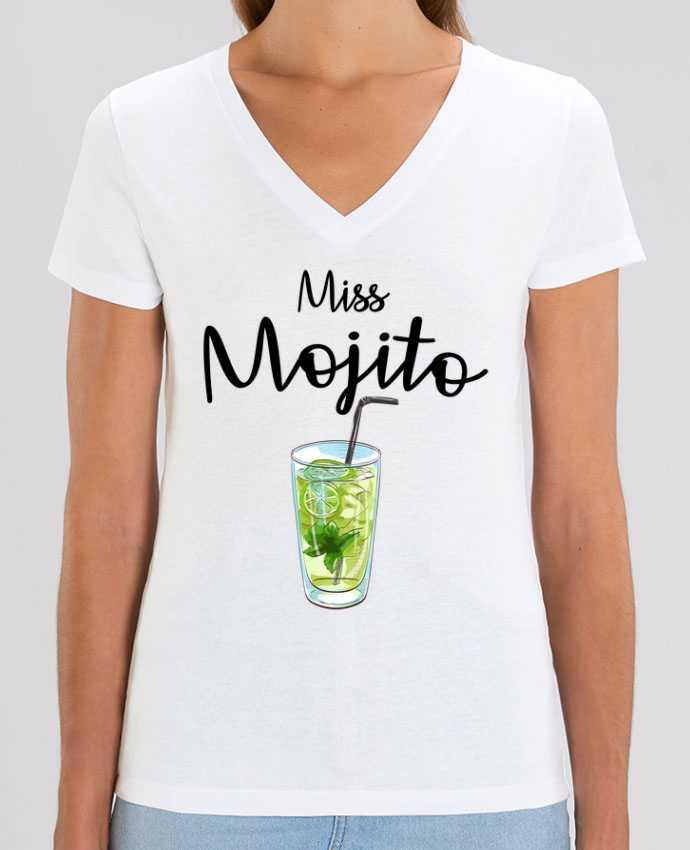 Tee SHirt Femme Col V Stella EVOKER Miss Mojito Par  FRENCHUP-MAYO