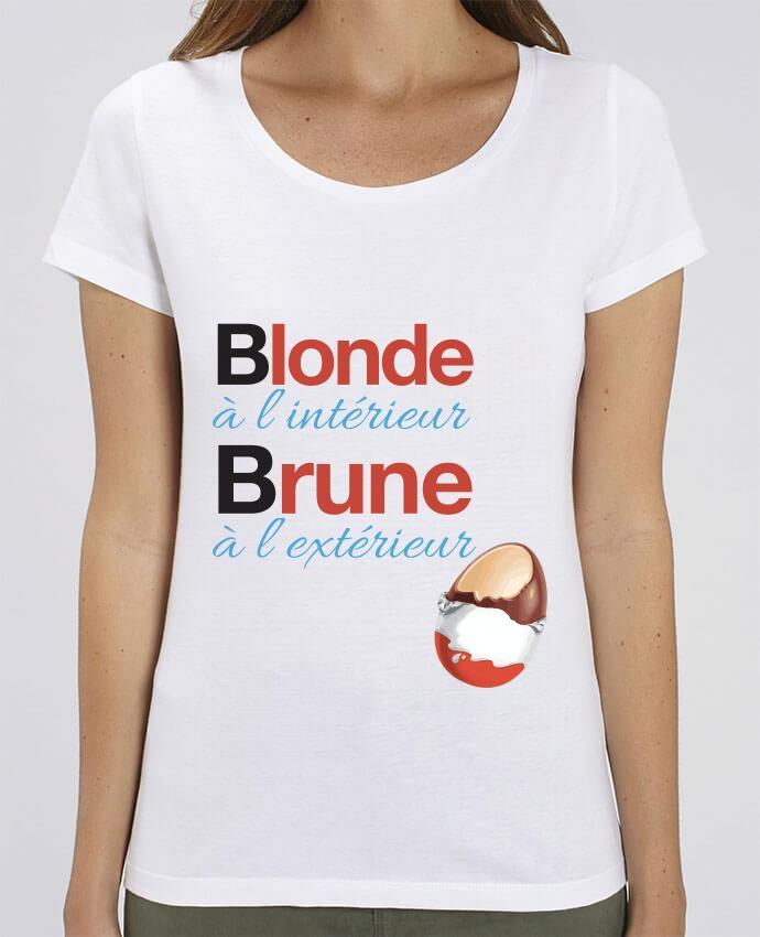 T-shirt Femme Blonde à l'intérieur / Brune à l'extérieur par Monidentitevisuelle