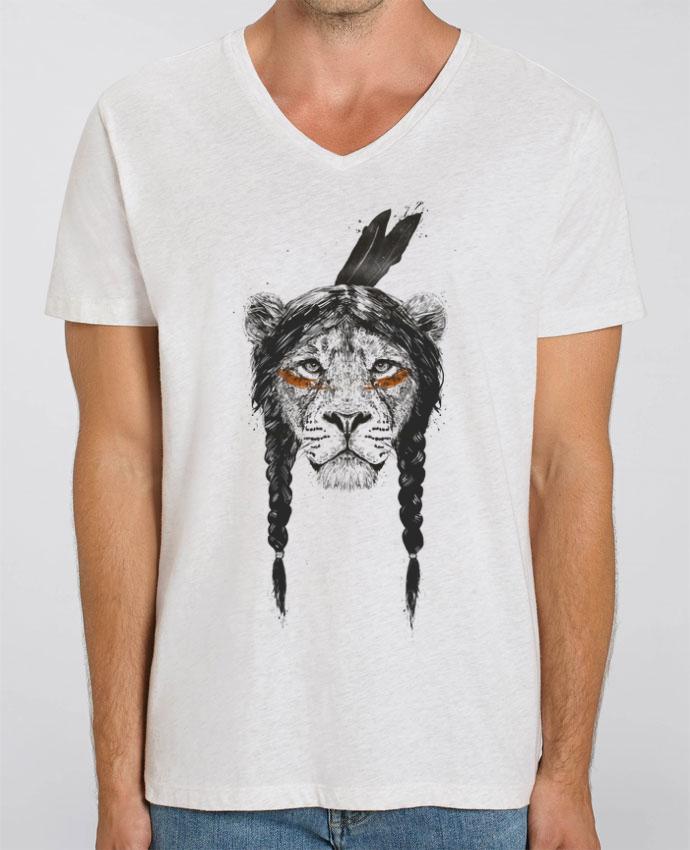 Tee Shirt Homme Col V Stanley PRESENTER warrior_lion par Balàzs Solti