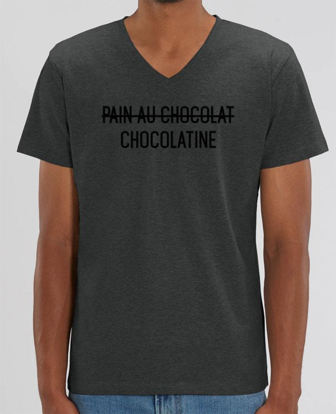 Tee Shirt Homme Col V Stanley PRESENTER Chocolatine par tunetoo