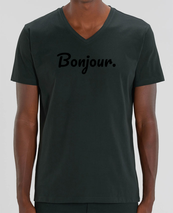 Tee Shirt Homme Col V Stanley PRESENTER Bonjour. par tunetoo