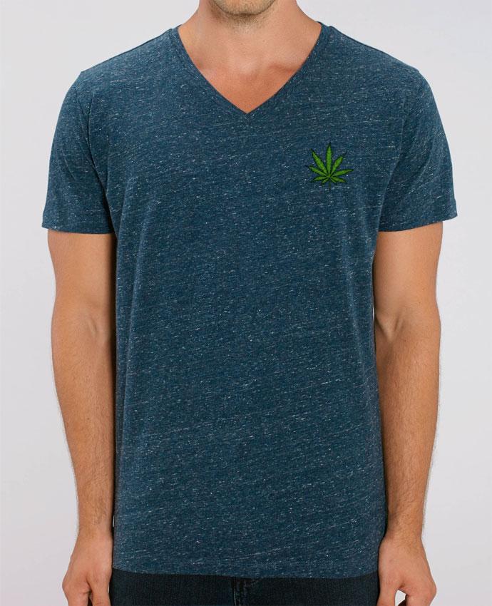 Tee Shirt Homme Col V Stanley PRESENTER Cannabis par Nick cocozza