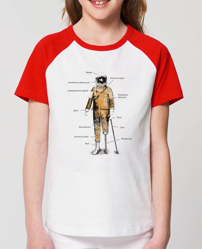 T-shirt Baseball Enfant- Coton - STANLEY MINI CATCHER Astropirate with text Par Florent Bodart