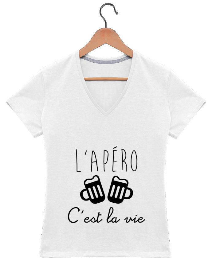 T-shirt Col V Femme 180 gr L'apéro c'est la vie , humour , alcool , drôle par Benichan