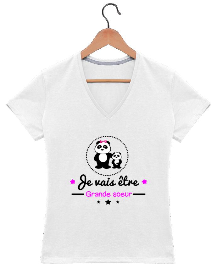 T-shirt Col V Femme 180 gr Bientôt grande soeur - Future grande soeur par Benichan